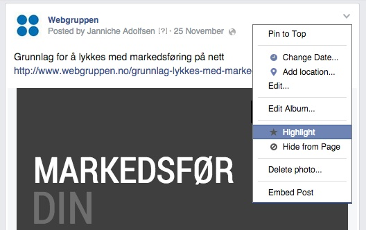 bilde highlight på facebook webgruppen