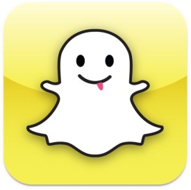 Snapchat ikon. Spøkelse på gul bakgrunn.