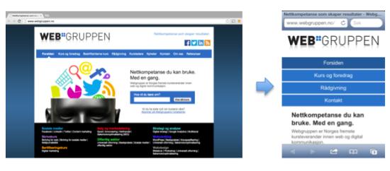 Eksempel på responsivt design for Webgruppens nettside