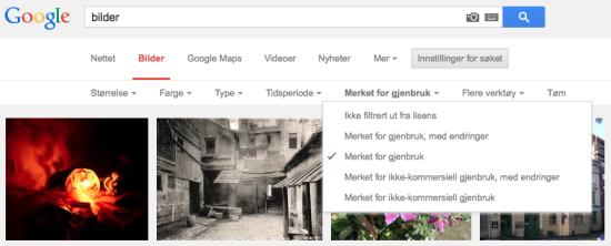 Bilde som viser hvordan du får gratis bilder på Google