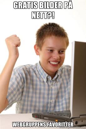 Bilde av en glad gutt som finner gratis bilder på nett