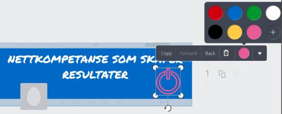 Bildet viser at du kan legge til, fjerne eller endre elementer som tekst, grafikk og ikoner