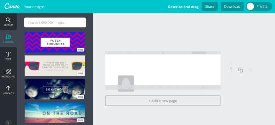 Valg når du skal lage toppbilde til Twitter i Canva, ferdige design