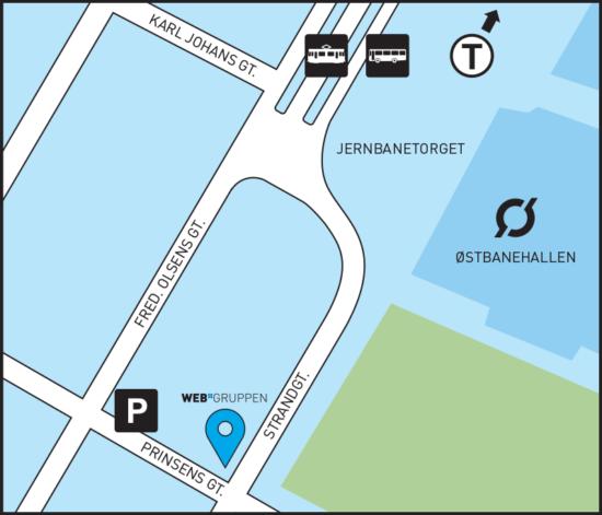 kart med veibeskrivelse Kart og veibeskrivelse til Strandgata 19   Webgruppen kart med veibeskrivelse