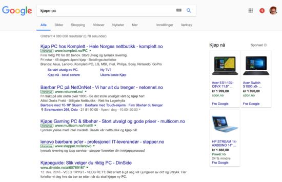 Skjermbilde som viser annonser på Google