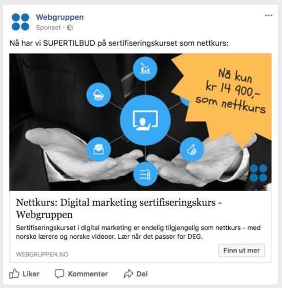 Skjermbilde av annonse i nyhetsfeed på Facebook