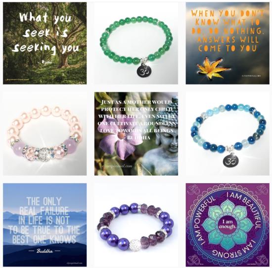 Eksempel på instagram-konto der man alternerer sitater og produktbilder