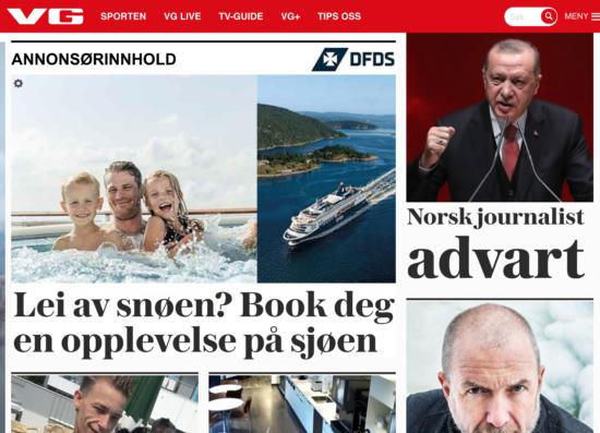 Eksempel på Native Ads fra DFDS på VG