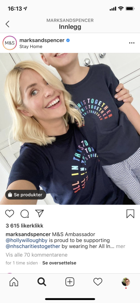 eksempel på Instagram-post med produkttagging
